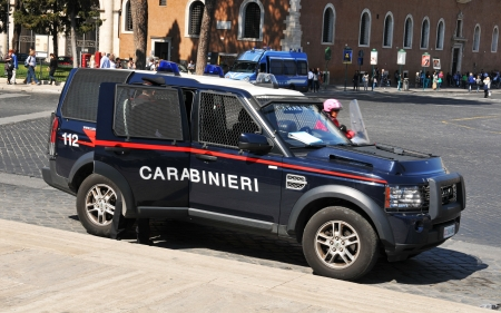 Rome, Italy - 29 March, 2012: Carabinieri, the national military police of Italy, guarding in Piazza Venezia