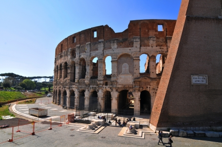 civilization: Rome, Italy - 30 March, 2012: Tourists visiting the Colosseum (Coliseum), one of the world