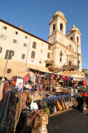 Rome, Italy - 30 March, 2012: Souvenir shop in front of the church of the Santissima Trinit?ei Monti, Rome  Stock Photo - 13795370