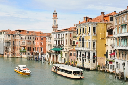 Venice, Italy - 6 May, 2012: Old architecture overlooking Grand Canal in central Venice Editorial