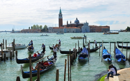 Venice, Italy - 6 May, 2012: Panorama of San Giorgio Maggiore island viewed from the main island