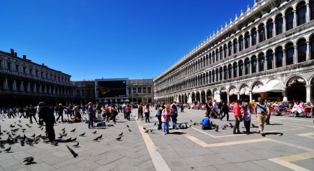 sestiere: Venice, Italy - 6 May, 2012: People feeding pigeons in St. Mark