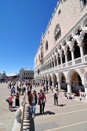 ducale: Venice, Italy - 7 May, 2012: Tourists visiting the Doges Palace (Palazzo Ducale), major touristic attraction in Venice