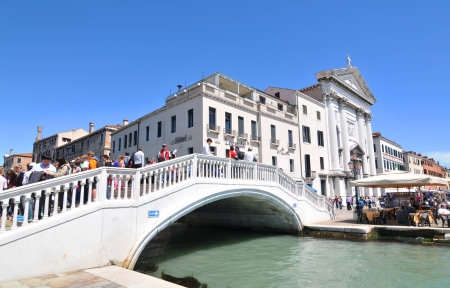 Venice, Italy - 7 May, 2012: Panorama of Palazzo delle Prigioni, major cultural landmark in Venice