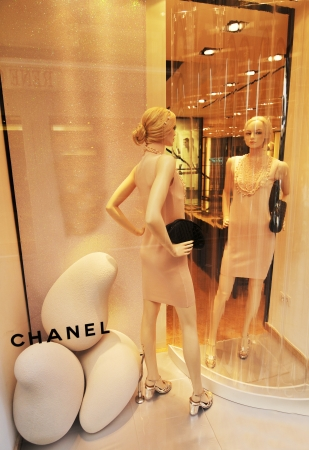 Venice, Italy - 7 May, 2012: Mannequins advertising new fashion collection in Chanel store on commercial street in Venice