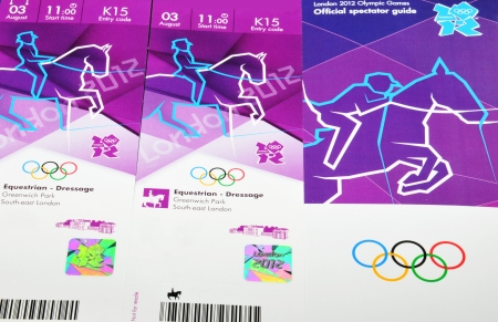London, 14 June, 2012: Tickets for the London 2012 Olympic Games are distributed to purchasers. London 2012 Olympic kit also contains the Official spectator guide and travel cards. Editorial