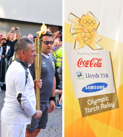 Nottingham, UK - 28 June, 2012: London 2012 Olympic torch bearer is ready to carry the flame through the city centre