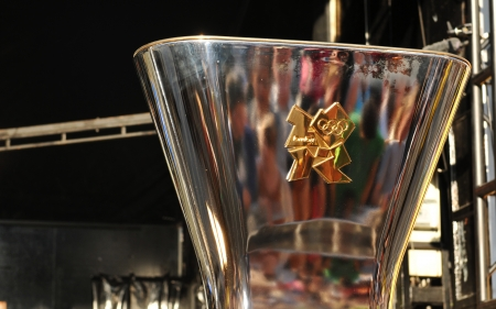 Nottingham, UK - 28 June, 2012: The Olympic flame is ready to be lighted during the torch relay in Nottingham city centre