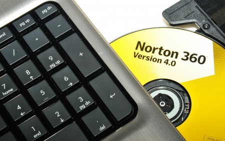 London, UK - 19 June, 2012: Detail of the Norton Antivirus 360 installing CD. Norton Antivirus is a popular product developed and distributed by Symantec Corporation