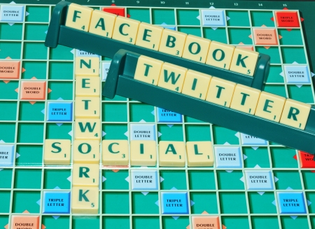 London, UK - 11 June, 2012: Social network concept with Facebook and Twitter on game board