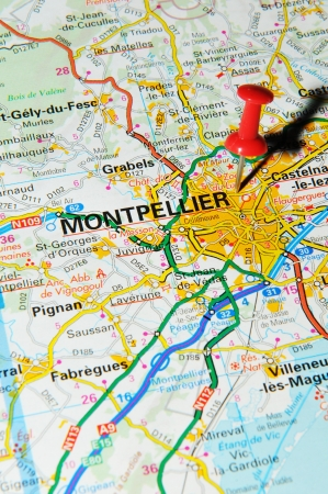 marked: London, UK - 13 June, 2012: Montpellier, France marked with red pushpin on Europe map.