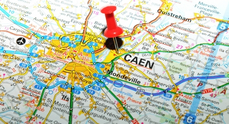 London, UK - 13 June, 2012: Caen, France marked with red pushpin on Europe map. Stock Photo - 14515084