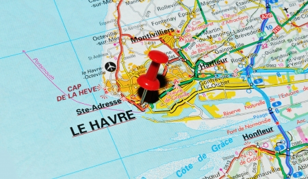 London, UK - 13 June, 2012: Le Havre, France marked with red pushpin on Europe map. Stock Photo - 14515111