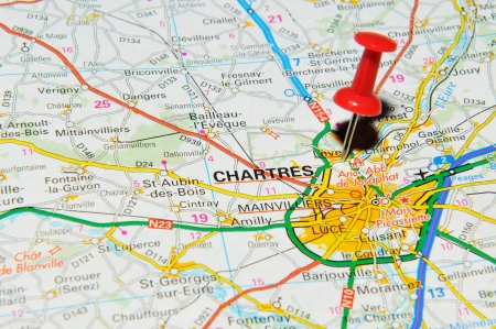 chartres: London, UK - 13 June, 2012: Chartres, France marked with red pushpin on Europe map.