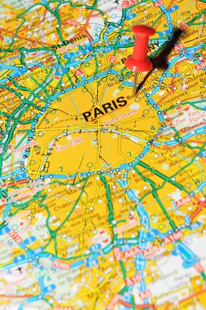 London, UK - 13 June, 2012: Paris, France marked with red pushpin on Europe map. Stock Photo - 14515097
