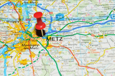 world location: London, UK - 13 June, 2012: Metz, France marked with red pushpin on Europe map.