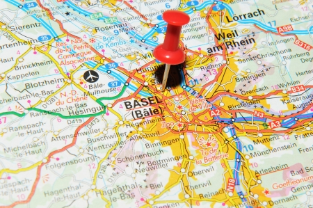London, UK - 13 June, 2012: Basel, Switzerland marked with red pushpin on Europe map.