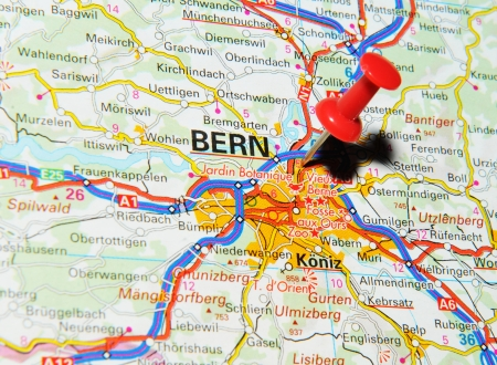 London, UK - 13 June, 2012: Bern, Switzerland marked with red pushpin on Europe map. Stock Photo - 14515078