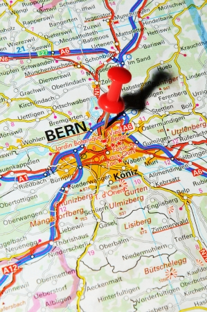 London, UK - 13 June, 2012: Bern, Switzerland marked with red pushpin on Europe map.