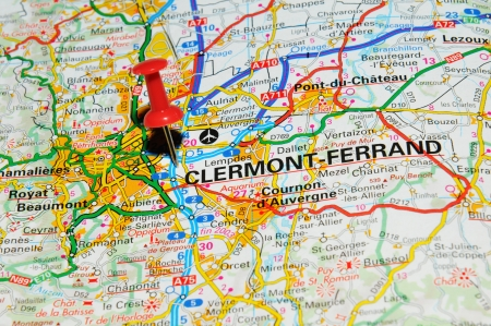 London, UK - 13 June, 2012: Clermont-Ferrand, France marked with red pushpin on Europe map. Stock Photo - 14515106