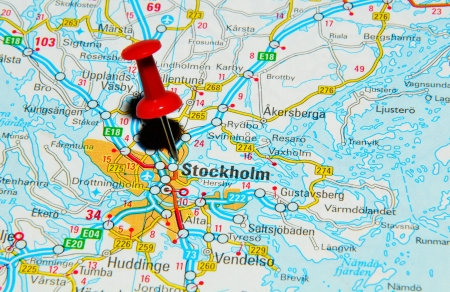 London, UK - 13 June, 2012: Stockholm, Sweden marked with red pushpin on Europe map.