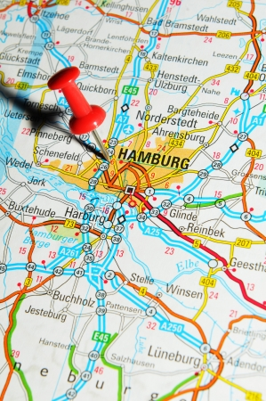 map pin: London, UK - 13 June, 2012: Hamburg, Germany marked with red pushpin on Europe map.