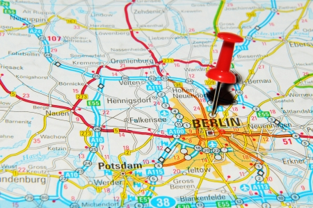 map pin: London, UK - 13 June, 2012: Berlin, Germany marked with red pushpin on Europe map. Editorial