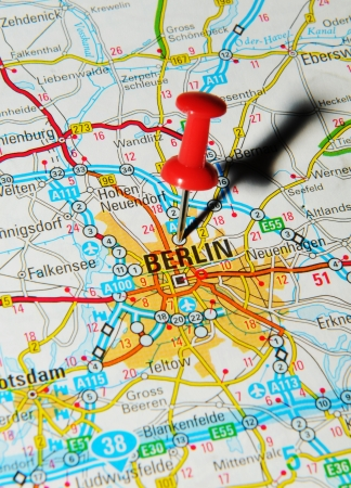 drawing pin: London, UK - 13 June, 2012: Berlin, Germany marked with red pushpin on Europe map. Editorial