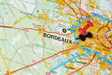London, UK - 13 June, 2012: Bordeaux, France marked with red pushpin on Europe map.