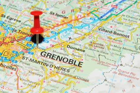 London, UK - 13 June, 2012: Grenoble, France marked with red pushpin on Europe map.