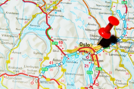 London, UK - 13 June, 2012: Oslo, Norway marked with red pushpin on Europe map.