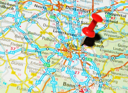 german mark: London, UK - 13 June, 2012: K?, Germany marked with red pushpin on Europe map. Editorial