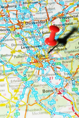 drawing pin: London, UK - 13 June, 2012: Frankfurt, Germany marked with red pushpin on Europe map.