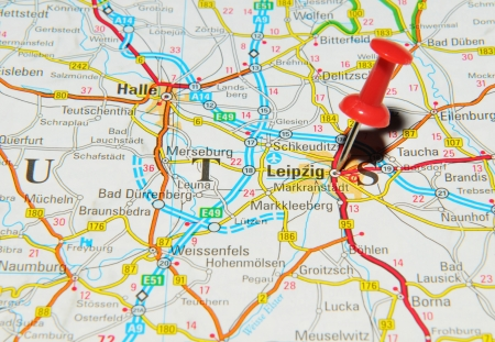 London, UK - 13 June, 2012: Leipzig, Germany marked with red pushpin on Europe map. Stock Photo - 14515030