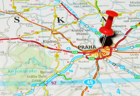 London, UK - 13 June, 2012: Prague, Czech Republic, marked with red pushpin on Europe map.