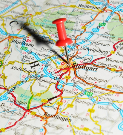 London, UK - 13 June, 2012: Stuttgart, Germany marked with red pushpin on Europe map. Stock Photo - 14515011