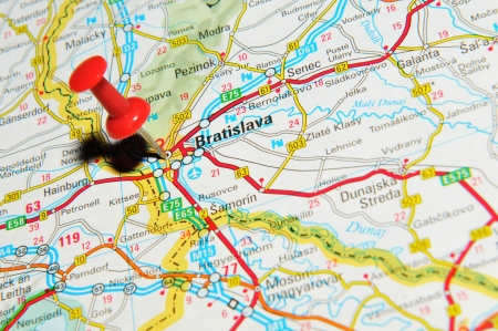 London, UK - 13 June, 2012: Bratislava, Slovakia marked with red pushpin on Europe map.