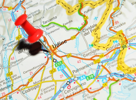 London, UK - 13 June, 2012: Udine, Italy marked with red pushpin on Europe map. Stock Photo - 14514999