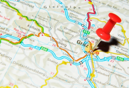 London, UK - 13 June, 2012: Graz, Austria marked with red pushpin on Europe map.