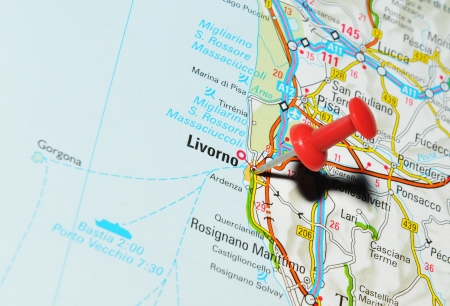 London, UK - 13 June, 2012: Livorno, Italy marked with red pushpin on Europe map.