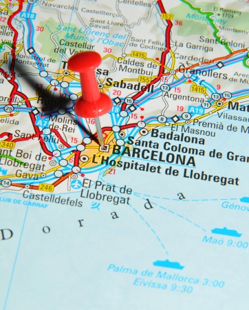 London, UK - 13 June, 2012: Barcelona, Spain marked with red pushpin on Europe map.