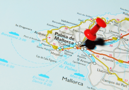 London, UK - 13 June, 2012: Palma de Mallorca, Spain marked with red pushpin on Europe map. Stock Photo - 14515016