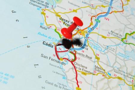 cadiz: London, UK - 13 June, 2012: Cadiz, Spain marked with red pushpin on Europe map.