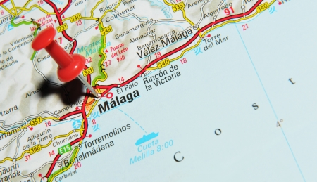 London, UK - 13 June, 2012: Malaga, Spain marked with red pushpin on Europe map.
