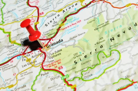 marked: London, UK - 13 June, 2012: Granada, Spain marked with red pushpin on Europe map. Editorial