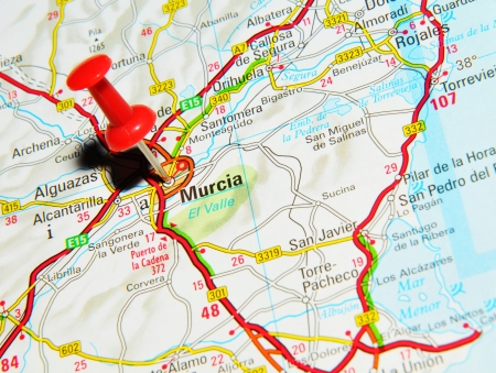 pinned: London, UK - 13 June, 2012: Murcia, Spain marked with red pushpin on Europe map. Editorial