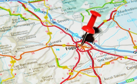foggia: London, UK - 13 June, 2012: Foggia, Italy marked with red pushpin on Europe map.
