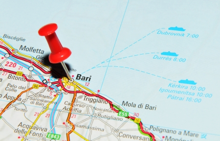 London, UK - 13 June, 2012: Bari, Italy marked with red pushpin on Europe map.