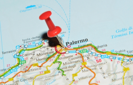 palermo: London, UK - 13 June, 2012: Palermo, Italy marked with red pushpin on Europe map.