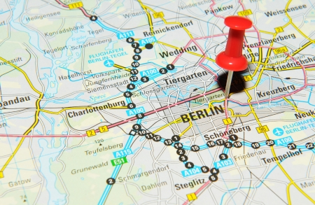 London, UK - 13 June, 2012: Berlin, Germany marked with red pushpin on Europe map.